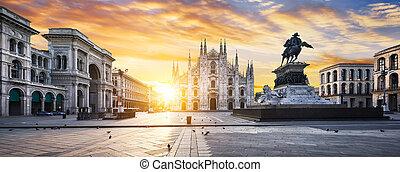 Milano spirit - Duomo at sunrise, Milan, Europe.