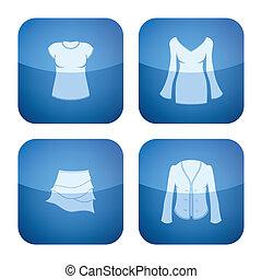 Cobalt Square 2D Icons Set: Woman\'s Clothing
