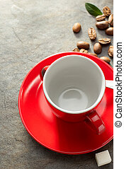 empty cup coffee on table