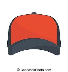 Baseball red cap vector. - Baseball red cap. Simple flat...