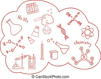 Science doodles vector set