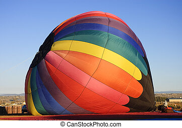 Inflating hot air ballon - Inflating a hot air ballon at the...