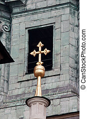 Wawel Cathedral Architectural Details - Golden cross against...