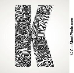 "Letter ""K"" from doodle alphabet"