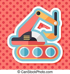 Excavator digger flat icon with long shadow,eps 10