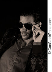 Cool guy - Cool male fashion model with sun glasses