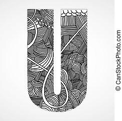 """Letter """"U"""" from doodle alphabet"""