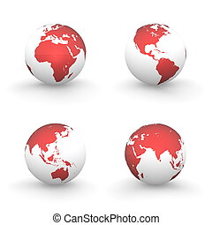 3D Globes in White and Shiny Red