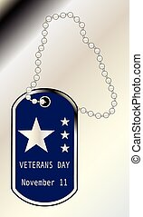 Veterans Day Dog Tag - A dog tag with the inscription...