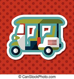 Three wheeled motor rickshaw, flat icon with long shadow