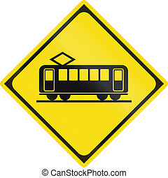 Japanese road warning sign - Crossing Train.