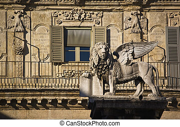 the Venice lion, symbol of Venice republic, in Verona, Italy