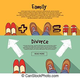 Family relations and divorce people horizontal banner set -...