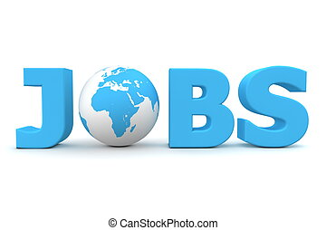 Jobs World Blue - blue word Jobs with 3D globe replacing...