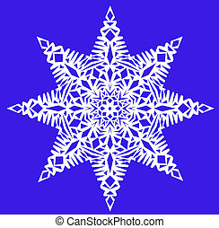 White snowflake on a blue background - One white snowflake...
