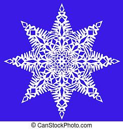 White snowflake on a blue background - One white snowflake...
