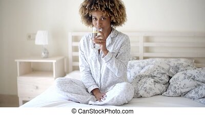 Girl Drinks Fresh Water - African-american girl drinks fresh...