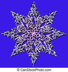 Shiny snowflake on a blue background - Shiny snowflake...