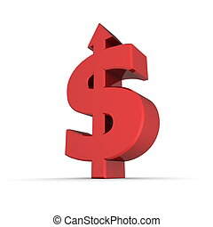Dollar Symbol Arrow Up - Shiny Red - dollar sign with arrow...