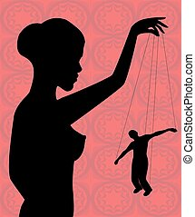 dependence on women - silhouette of a naked woman holding a...