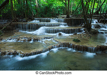beautiful hauy mae kamin water falls in deep forest...