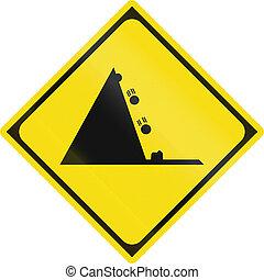 Japanese warning road sign - Falling rocks