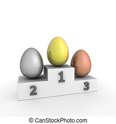 Victory Podium - Eggs in Gold, Silver, Bronze - victroy...