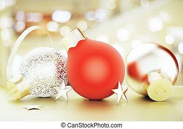 Bolas, Ouro, árvore,  -, estrelas, brinquedos, Natal, vermelho