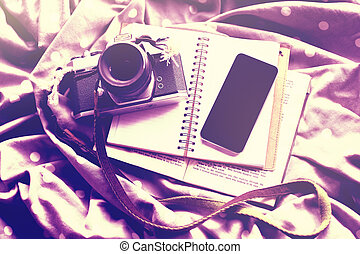 Cell phone with vintage camera, diary and book, mock up