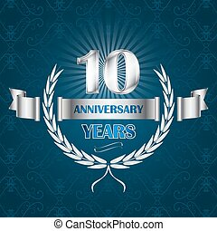 10 year anniversary emblem with ribbon and laurel wreath....
