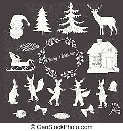 Christmas in forest silhouettes