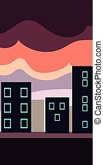 Vertical Landscape Illustration, Flat City at Sunset