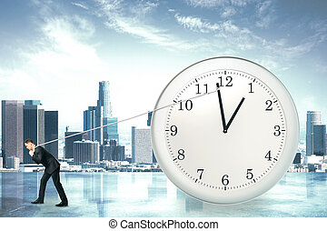 Time stopping concept with businessman trying to stop the...