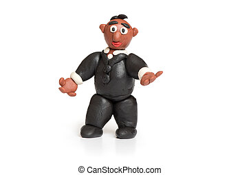 plasticine businessman isolated on a white background