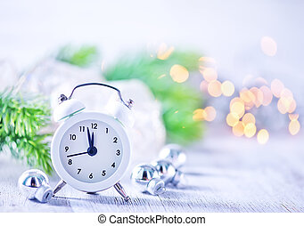 Christmas background, Christmas decoration and clock on a...