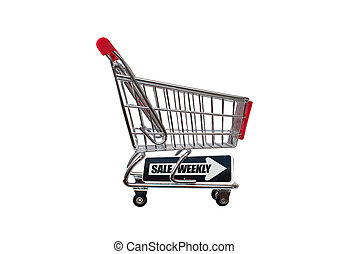 Weekly Sale Shopping cart isolated on white background
