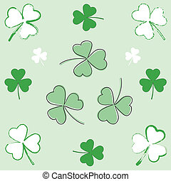 Paintbrush and hand-drawn shamrocks - Set of paintbrush and...