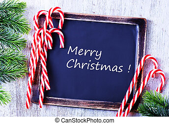 Christmas background, Christmas decoration and black board...