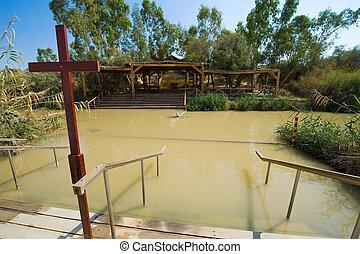 Baptismal site Qasr el Yahud on the Jordan river near...