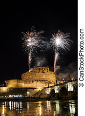 Fireworks fired from Castel Sant Angelo, Rome, Italy -...