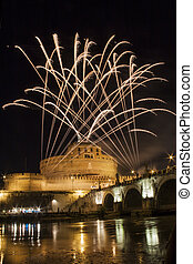 Fireworks playing over Castel Sant' Angelo, Rome, Italy