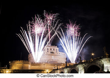 Castel Sant Angelo, Rome, Italy celebration with fireworks -...