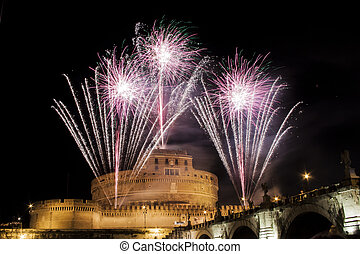 Traditional fireworks over Castel Sant Angelo, Rome, Italy -...