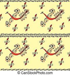 Red fire bird fairy peacock seamless pattern - Red fire bird...
