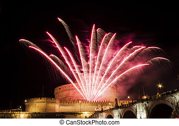 Celebration with fireworks over Castel Sant' Angelo, Rome, Italy