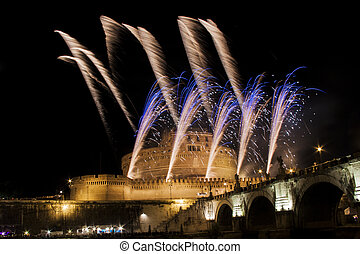 Fireworks show over Castel Sant Angelo, Rome, Italy -...