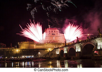 Fireworks from Castel Sant Angelo, Rome, Italy - Fireworks...