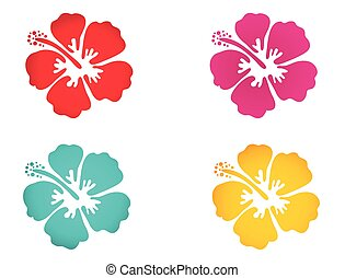 Hibiscus flower set in bright colors. Surfing, holiday and...