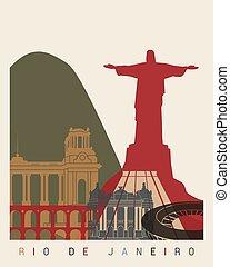 Rio de Janeiro skyline poster in editable vector file
