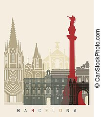 Barcelona skyline poster in editable vector file